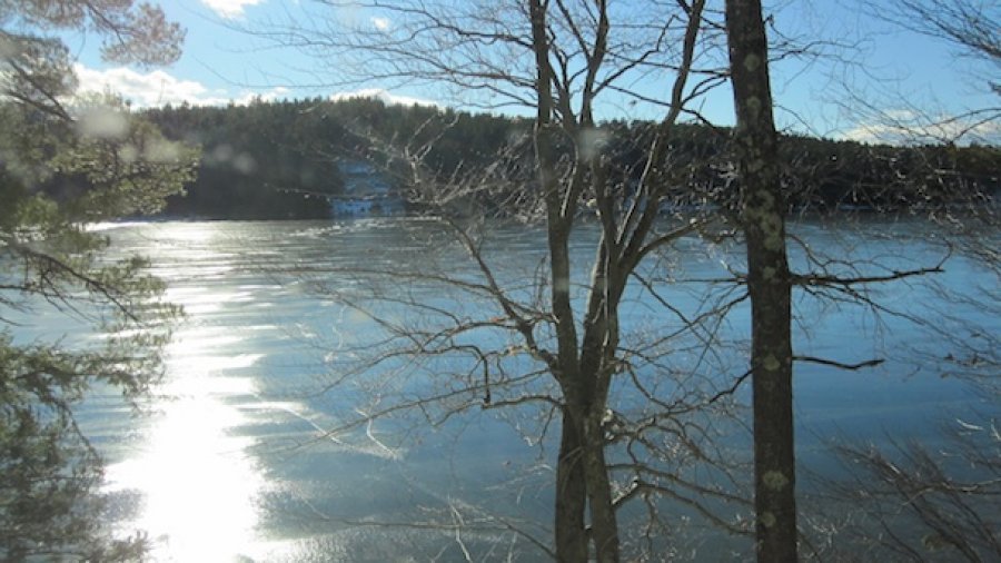 Frozen NH Lake After A Thaw