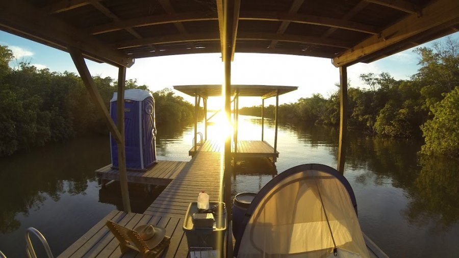 Sunset on a chickee in the Everglades.  It was camp for the night.  Just after…