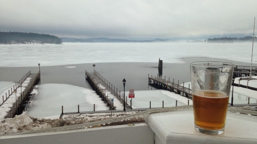 Wolfeboro bay and town docks on March 28th, from the Upper Deck bar.  I stepped…