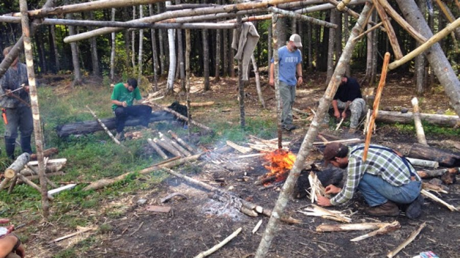 Feather stick fire-for-coffee exercise in camp this morning