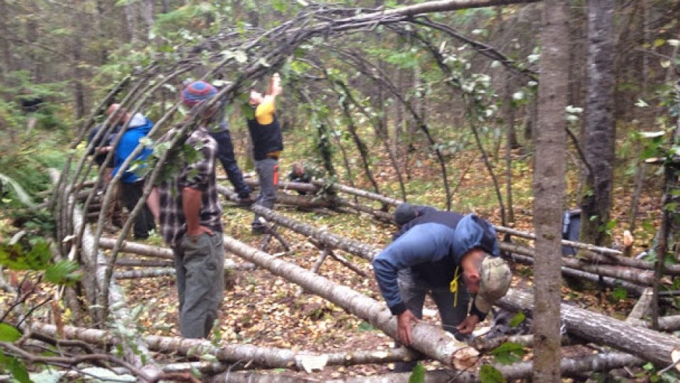 Building a group shelter today for the coming cold weather