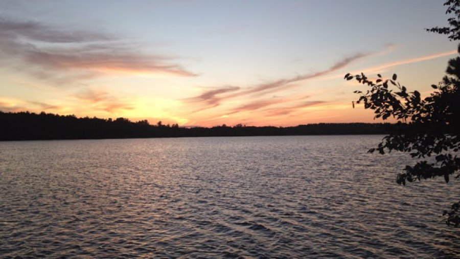 Stunning sunset over the pond