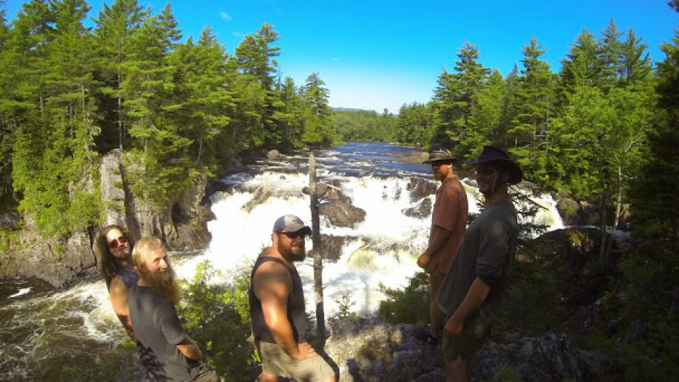 Crew at Grand Pitch, East Branch of the Penobscot, Maine