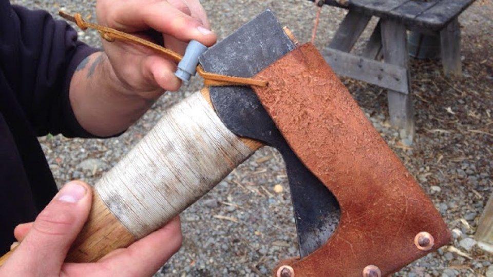 New handmade axe sheath with adjustable cord lock tensioner