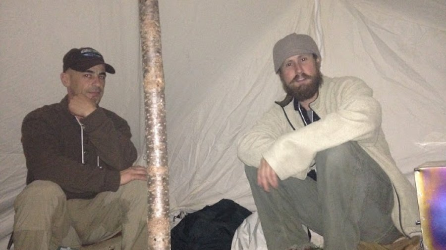 Snow Walkers' Rendezvous, in the tent with Derek and Paul