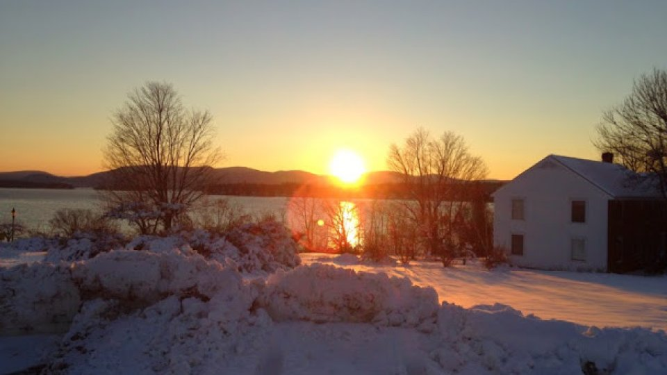 Out sledding with the kids at the Xmas parade and a beautiful sunset over the lake