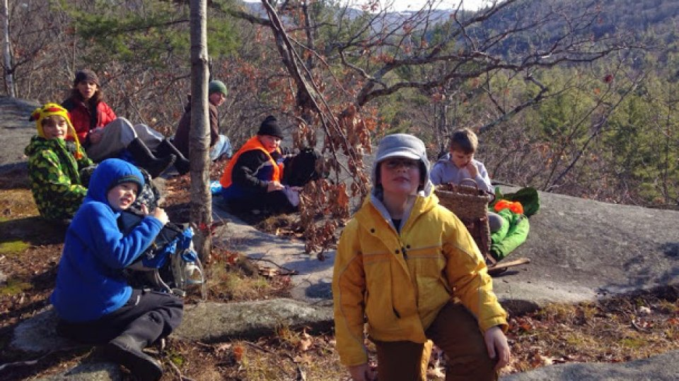 School Of The Forest, stopping for lunch on a ridge near the folk school
