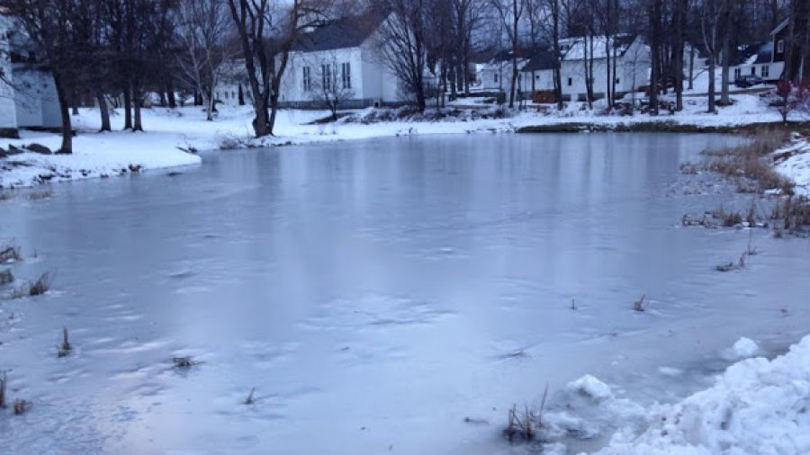 Pond of clear ice makes me think pond hockey