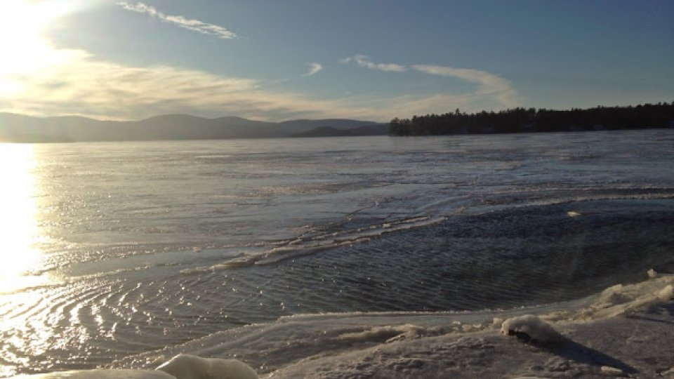 Cold wind whipping across frozen lake Winnepesaukee
