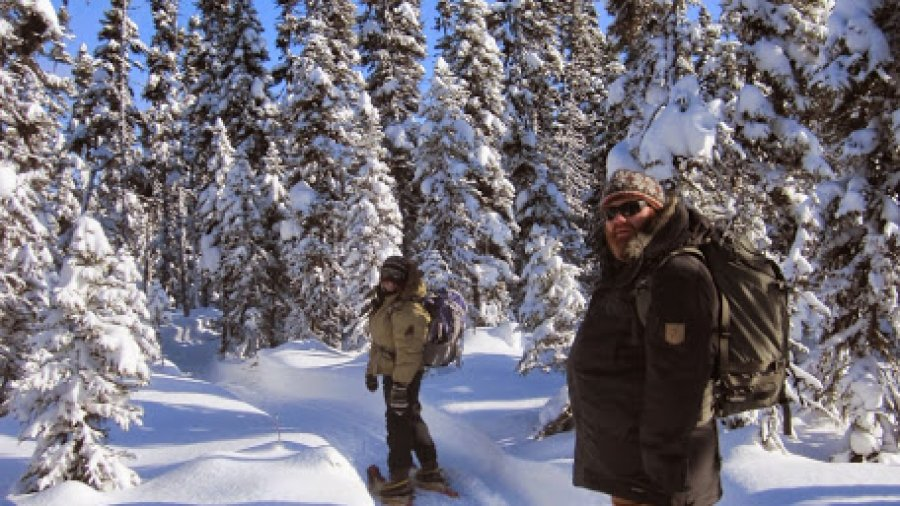 On the snowshoe trail in northern Quebec