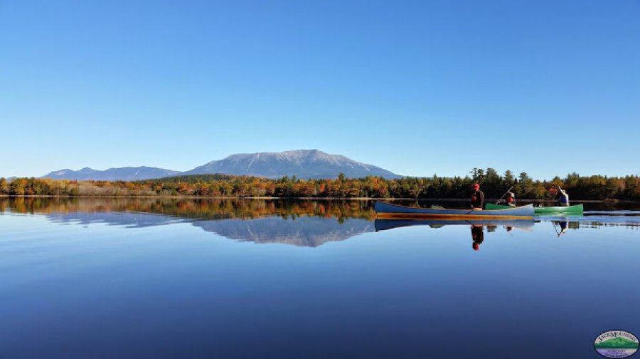 Canoes and Katahdin,  Epic Maine photo shot by Sam Racioppi during the fall Wilderness Bushcraft Semester