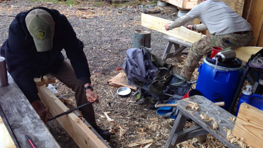 Paddle making: using draw knives to shape the blanks