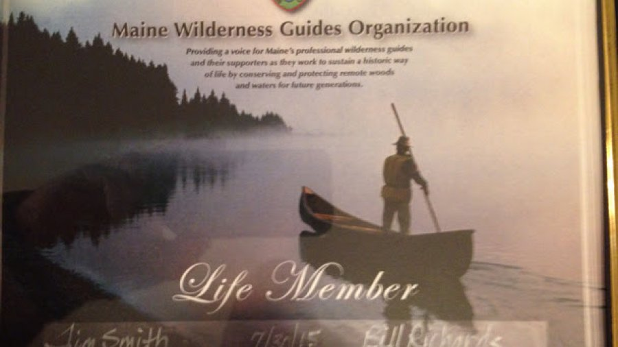 Maine Wilderness Guides Organization life member certificate finally arrived