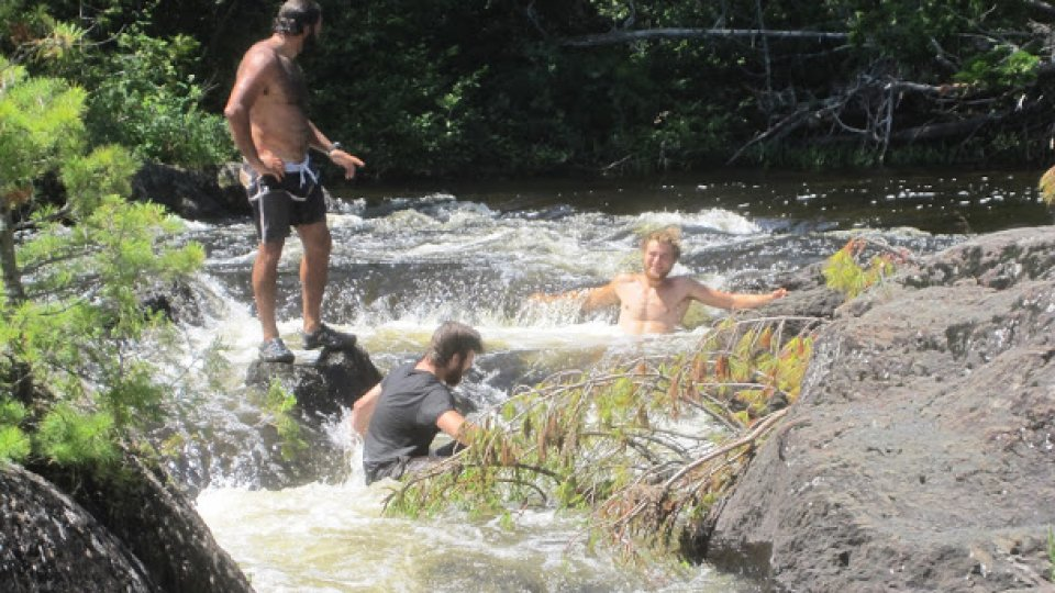 After the Ice Caves, enjoying the current in the pools above the larger drop at Little Allagash Falls