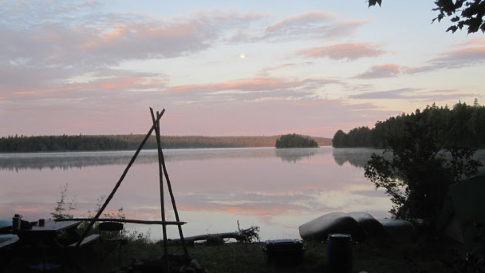 Just before sunrise on Webster Lake on our second trip of the Wilderness Canoe Expedition Semester