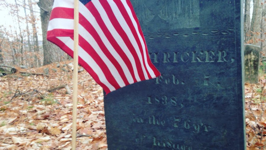 Grave of a Revolutionary War soldier, deep in the woods and a mile from any road, and every veterans day someone puts a flag on it