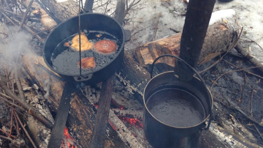 Coffee and doughnuts on the fire this morning, winter woodsman course