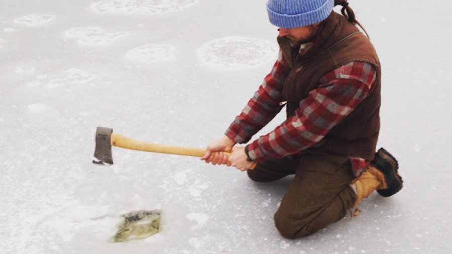 What if you don't have an ice chisel? Cutting a water hole in the ice with an axe