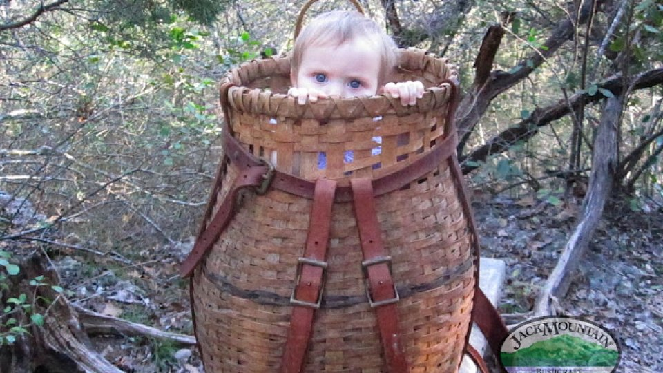 Old photo of my youngest and another use for a pack basket