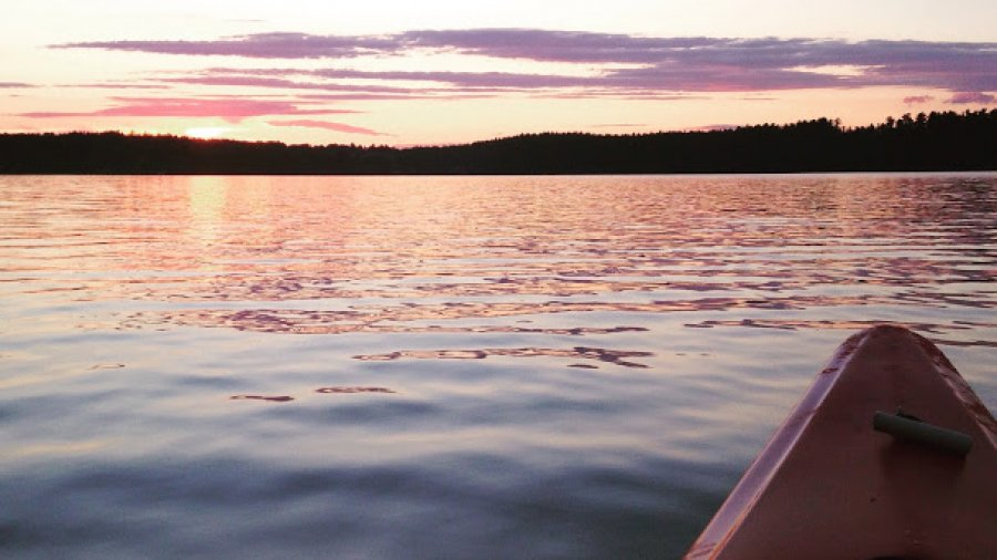 Sunset paddle in the kayak after a day of storms