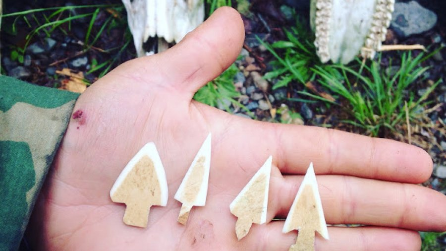 Moose bone arrowheads made as part of a final project