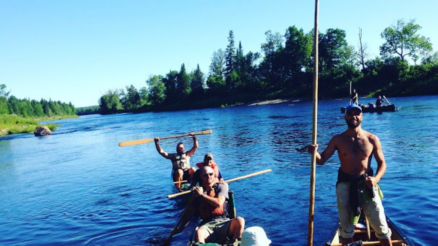 Leaving camp on their way to the ocean via the Aroostook, St