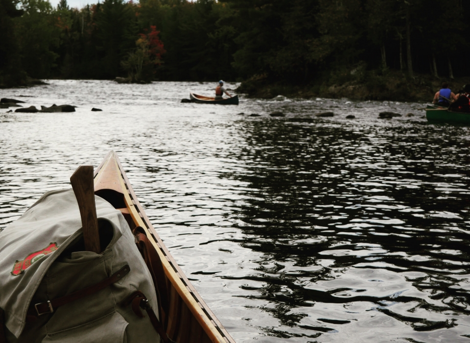 Wood Canvas Canoe Being Used Hard