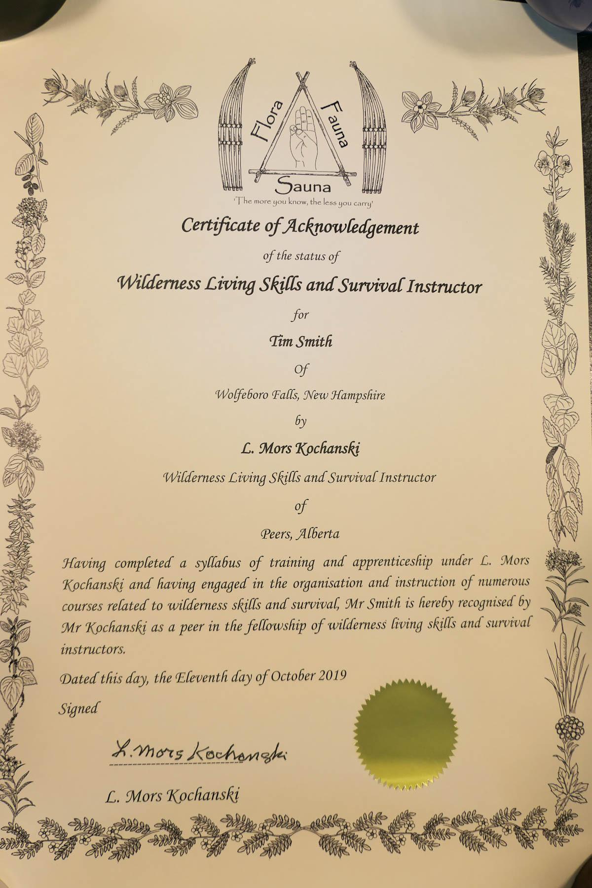 Mors Kochanski Certificate